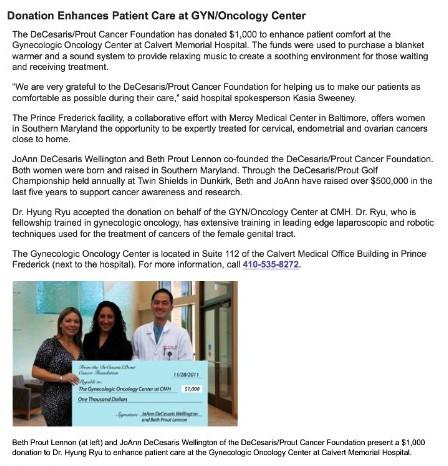 DPCF donation enhances patient care at Calvert Hospital's GYN